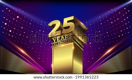 25 years Jubilee Blue Pink Golden Shimmer Awards Graphics Background Celebration. Entertainment Spot Light Hollywood Template  Luxury Premium Corporate Abstract Design Template Banner Certificate