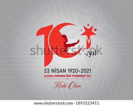 101 years logo. Vector illustration of 101 years red Turkish flag, boy and Ataturk. Translation: 23 April 1920-2021 Happy Centenary of National Sovereignty. 101.Year Children's Day.