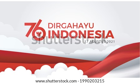 76 Years Of Independence Day Republic Of Indonesia. Dirgahayu Kemerdekaan. (English translation: Indonesian independence). Illustration Logo, Banner, Poster Design