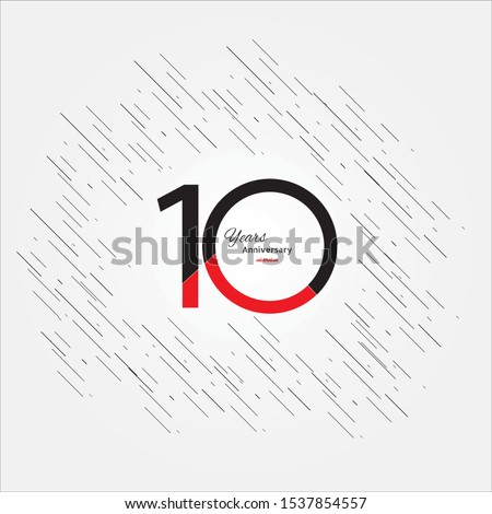 10 years old celebrating classic logo. Colored happy anniversary template numbers. Greetings celebrates. Traditional framed digits of ages. Special prize, % off, O or 0. Card's or label's idea.