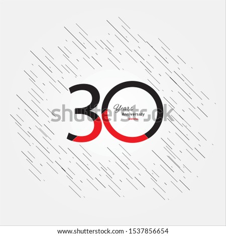 30 years old celebrating classic logo. Colored happy anniversary 30 template numbers. Greetings celebrates. Traditional framed digits of ages. Special prize, % off, O or 0. Card's or label's idea.