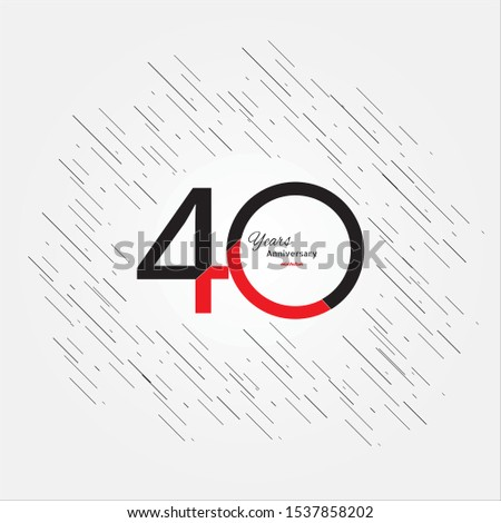 40 years old celebrating classic logo. Colored happy anniversary 40 template numbers. Greetings celebrates. Traditional framed digits of ages. Special prize, % off, O or 0. Card's or label's idea.