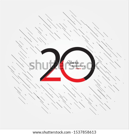 20 years old celebrating classic logo. Colored happy anniversary template numbers. Greetings celebrates. Traditional framed digits of ages. Special prize, % off, O or 0. Card's or label's idea.