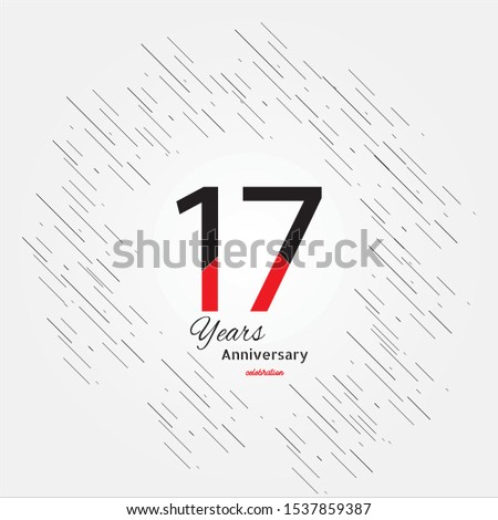 17 years old celebrating classic logo. Colored happy anniversary template numbers. Greetings celebrates. Traditional framed digits of ages. Special prize, % off, O or 0. Card's or label's idea.