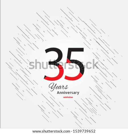 35 years old celebrating classic logo. Colored happy anniversary template numbers. Greetings celebrates. Traditional framed digits of ages. Special prize, % off, O or 0. Card's or label's idea.