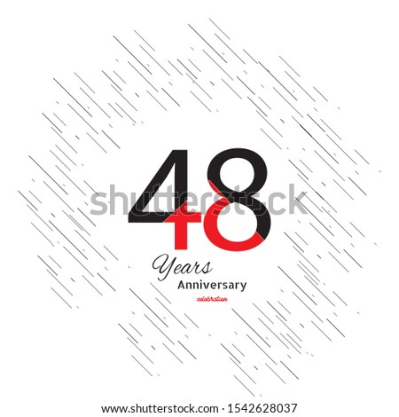 48 years old celebrating classic logo. Colored happy anniversary template numbers. Greetings celebrates. Traditional framed digits of ages.
