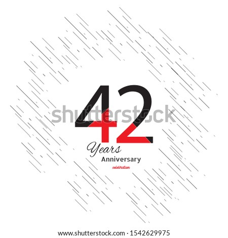 42 years old celebrating classic logo. Colored happy anniversary template numbers. Greetings celebrates. Traditional framed digits of ages.