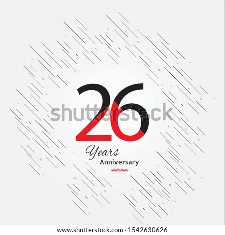 26 years old celebrating classic logo. Colored happy anniversary template numbers. Greetings celebrates. Traditional framed digits of ages.