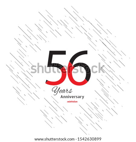 56 years old celebrating classic logo. Colored happy anniversary template numbers. Greetings celebrates. Traditional framed digits of ages.