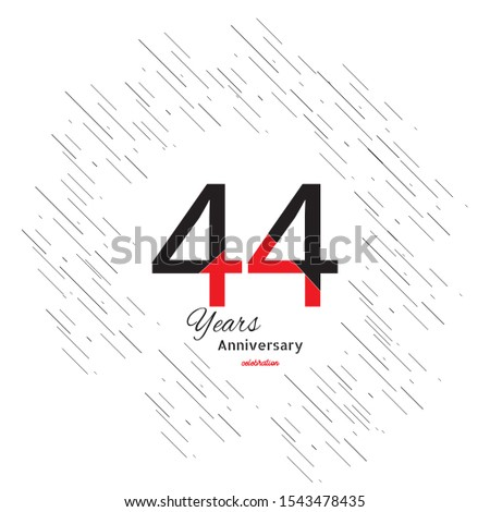 44 years old celebrating classic logo. Colored happy anniversary template numbers. Greetings celebrates. Traditional framed digits of ages. Special prize, % off, O or 0. Card's or label's idea.