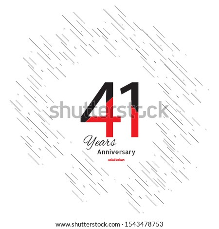 41 years old celebrating classic logo. Colored happy anniversary template numbers. Greetings celebrates. Traditional framed digits of ages. Special prize, % off, O or 0. Card's or label's idea.