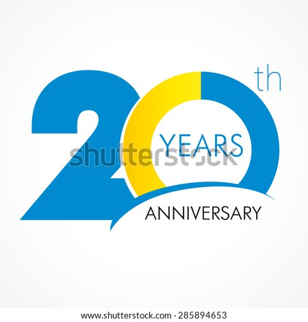 Shutterstock 20 years old celebrating classic logo. Colored happy anniversary 20 th template numbers. Greetings celebrates. Traditional framed digits of ages. Special prize, % off, O or 0. Card's or label's idea.