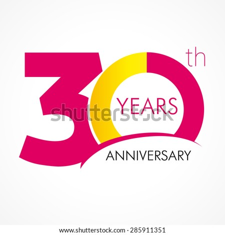 30 years old celebrating classic logo. Colored happy anniversary 30 th template numbers. Greetings celebrates. Traditional framed digits of ages. Special prize, % off, O or 0. Card's or label's idea.