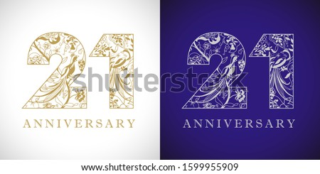 21 years old logotype. 21 st anniversary numbers. Decorative symbol. Age congrats with peacock birds. Isolated abstract graphic design template. Royal golden digits up to 21% -21% percent off discount