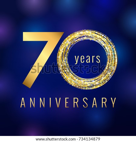 70 years old luxurious numbers. Congratulations 70th tag with sparks and stars. Congratulating greetings celebrates. Celebrating traditional golden seven, letter O, 0 zero, % isolated blue template.