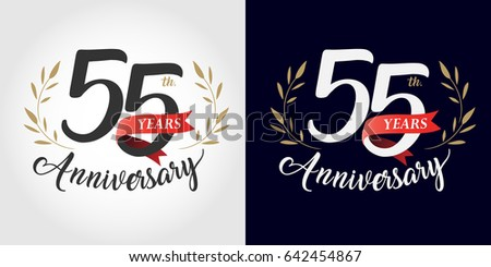 55 years, 55th anniversary, number, hand writing, and red ribbon. vintage style