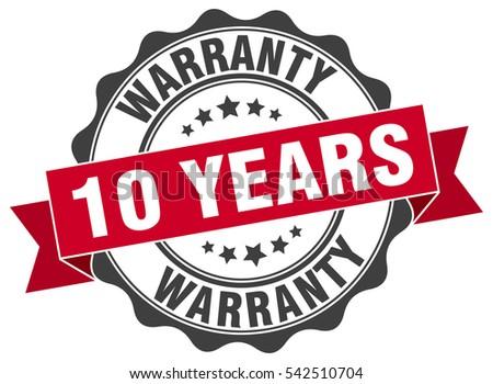 10 years warranty. stamp. sticker. seal. round grunge vintage ribbon 10 years warranty sign Stock photo ©