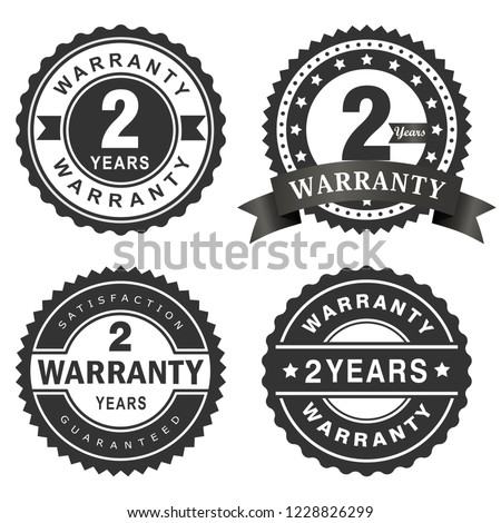2 Years warranty vector badge labels Stock photo ©