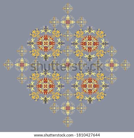 Yellow and tan r mael color floral pattern on the gray background Stock fotó ©