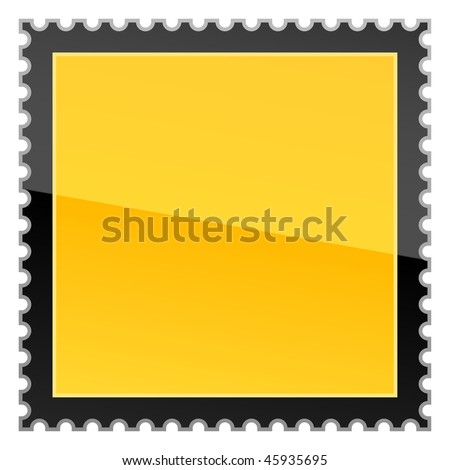 Yellow hazard warning blank postage stamp on a white background