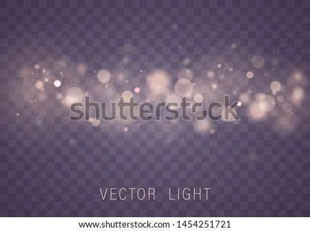 Yellow White Gold Light abstract glowing bokeh lights effect isolated on transparent background. Festive purple and golden luminous background. Christmas concept. Blurred light  Vector