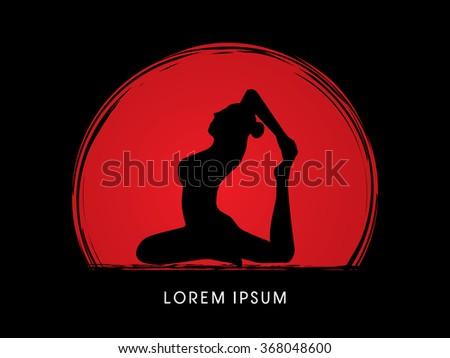 yoga pose design on sunset or