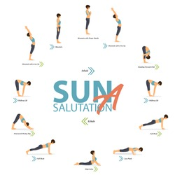 12 Yoga poses for Yoga at home in concept of Yoga Sun Salutation A in flat design. Woman is doing exercise for body stretching. Set of yoga posture or asana infographic. Character Vector Illustration