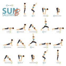 19 Yoga poses for Yoga at home in concept of Yoga Sun Salutation B in flat design. Woman is doing exercise for body stretching. Set of yoga posture or asana infographic. Character Vector Illustration