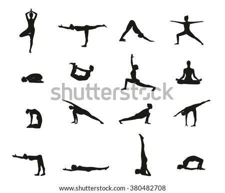 Yoga Poses Silhouette Black Set Of Pose