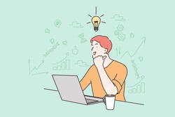 Young happy businessman boy freelancer working on laptop having idea. Creativity and goal achievement intelligence knowledge.