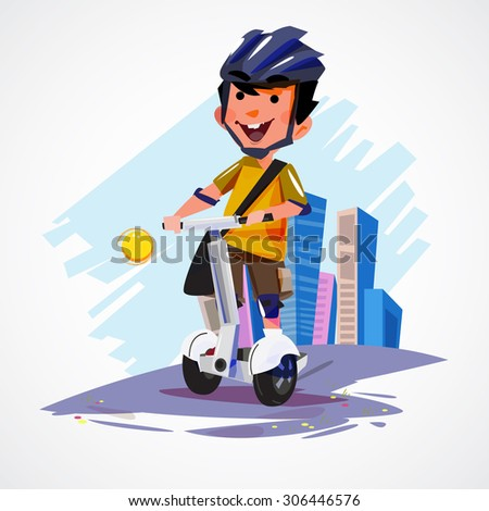 young man riding segway