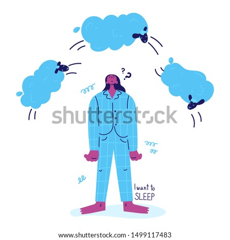 А young woman with insomnia stands and counts the sheep jumping over her.Woman suffering from insomnia in pajamas.Girl thinks how to sleep and counts sheep.I want to sleep.Vector illustration