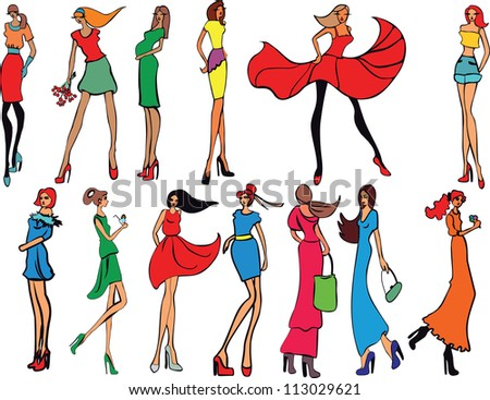 Young Women In Beautiful Clothes. Fashion Girls. Stock Vector