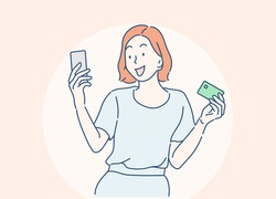 Young women is shopping online with a mobile phone. she spends via credit card by mobile app. Hand drawn in thin line style, vector illustrations.