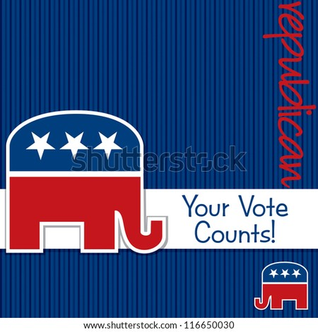 """""""Your Vote Counts"""" Republican election card/poster in vector format."""