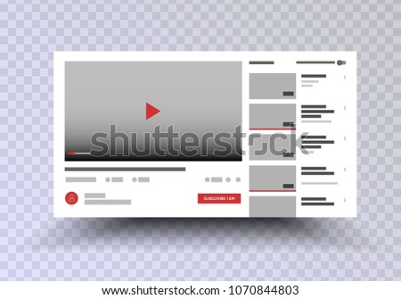 Youtube . Vector browser window with video player web site mock up . User Comments. Media Player template . Video player Interface