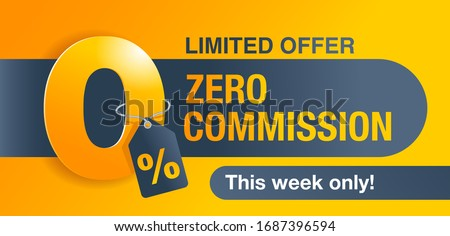 0% zero commission special offer banner template in yellow an dark gray colors - vector promo limited offers flyer