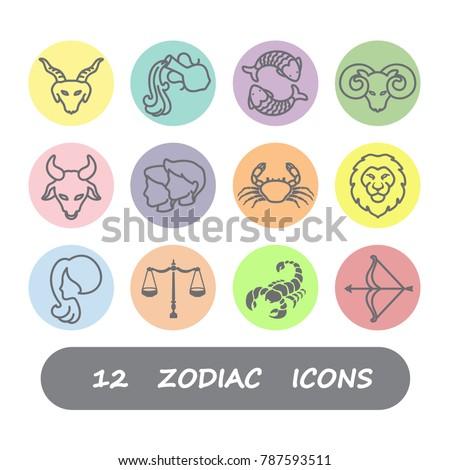 12 Zodiac horoscope icons vector design
