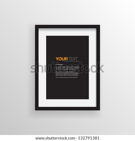 A4 / A3 Format paper design vector with text, picture frame and shadow