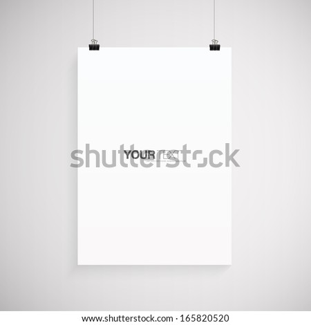 A4 / A3 Format paper with text, paper clips and shadow  Eps 10 vector illustration