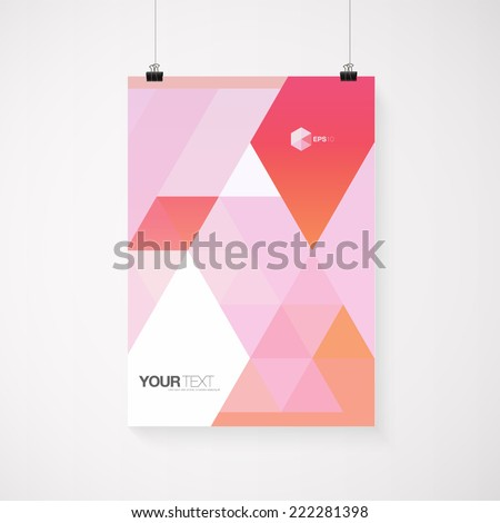 A4 / A3 format poster design with your text, minimal abstract triangles background, paper clips and shadow Eps 10 stock vector illustration