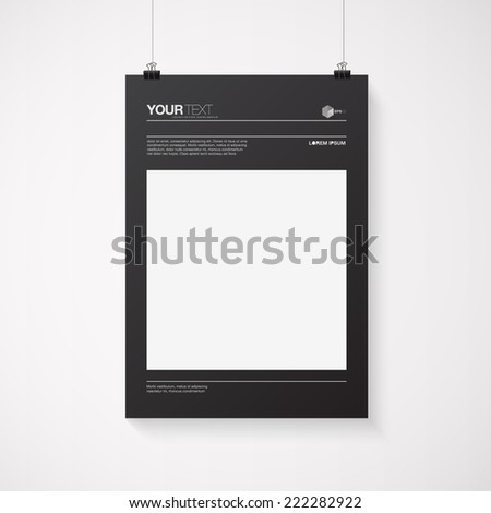 A4 / A3 format poster minimal abstract design with your text, paper clips and shadow  Eps 10 stock vector illustration