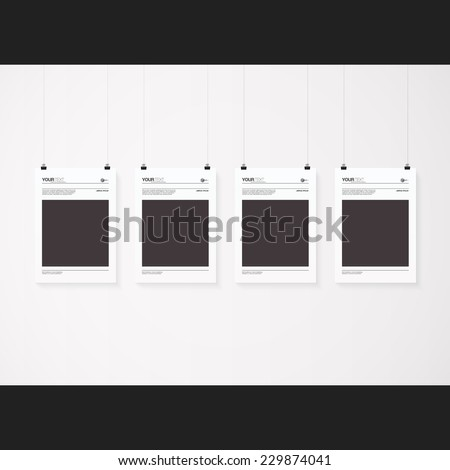 A4 / A3 format posters with minimal abstract design with your text, paper clips and shadow  Eps 10 stock vector illustration
