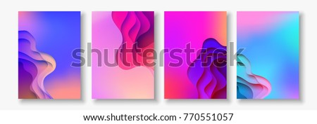A4 abstract color 3d paper art illustration set. Contrast colors. Vector design layout for banners presentations, flyers, posters and invitations. Eps10. #770551057