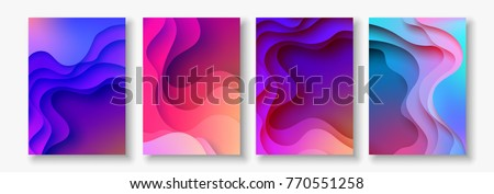 A4 abstract color 3d paper art illustration set. Contrast colors. Vector design layout for banners presentations, flyers, posters and invitations. Eps10. - Shutterstock ID 770551258