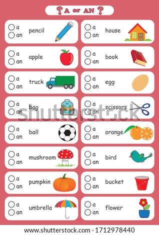 a and an indefinite Article, choose the correct form 'a' or 'an' for each of the words below, A worksheet that gets children to practise using a or an, deciding which is the correct version when given Сток-фото ©