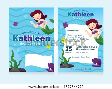 A Ariel Mermaid Sea Theme Party Invitation Design For Girls and Teen. 2 Sided design and all the information should be updated.