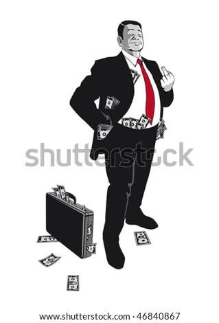 A arrogant banker is showing his middle finger, illustration