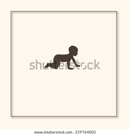a baby crawling  silhouette
