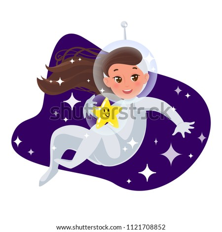 A baby girl in a spacesuit floating with a star throug the space. Flat cartoon style illustration.